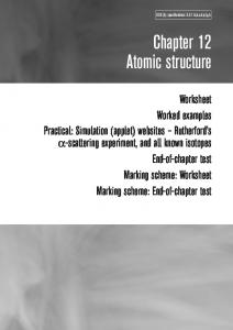 Chapter 12 Atomic structure