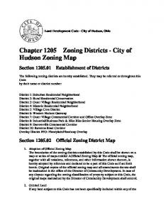 Chapter 1205 Zoning Districts - City of Hudson Zoning Map