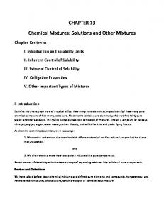 CHAPTER 13 Chemical Mixtures: Solutions and Other Mixtures