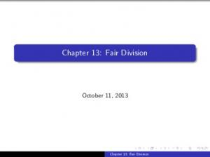 Chapter 13: Fair Division