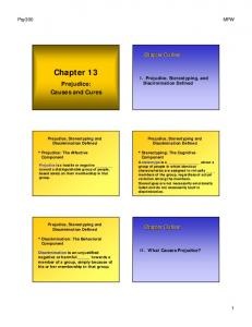 Chapter 13. Prejudice: Causes and Cures. Chapter Outline. Chapter Outline. I. Prejudice, Stereotyping, and Discrimination Defined