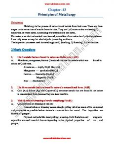 Chapter -13 Principles of Metallurgy