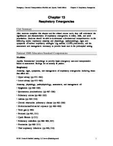 Chapter 13: Respiratory Emergencies
