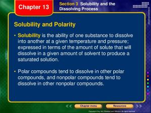 Chapter 13. Solubility and Polarity