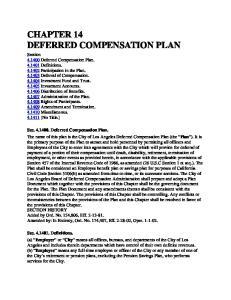 CHAPTER 14 DEFERRED COMPENSATION PLAN