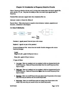 Chapter 14: Introduction to Frequency Selective Circuits