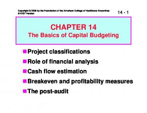 CHAPTER 14 The Basics of Capital Budgeting