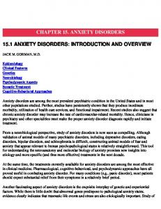 CHAPTER 15. ANXIETY DISORDERS 15.1 ANXIETY DISORDERS: INTRODUCTION AND OVERVIEW