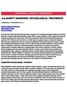 CHAPTER 15. ANXIETY DISORDERS 15.8 ANXIETY DISORDERS: PSYCHOLOGICAL TREATMENTS