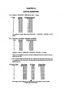 CHAPTER 15 CAPITAL BUDGETING