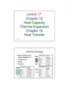 Chapter 15 Heat Capacity Thermal Expansion Chapter 16 Heat Transfer