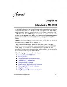 Chapter 15. Introducing MOSFET