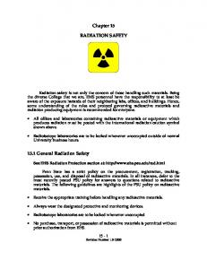 Chapter 15 RADIATION SAFETY