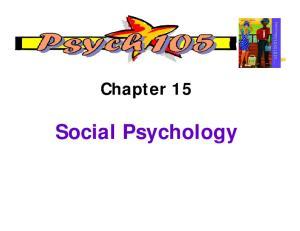 Chapter 15. Social Psychology