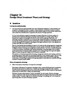 Chapter 16 Foreign Direct Investment Theory and Strategy
