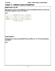 Chapter 17. Additional Aspects of Equilibrium