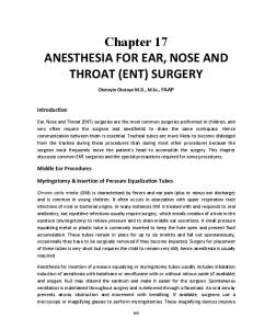 Chapter 17 ANESTHESIA FOR EAR, NOSE AND THROAT (ENT) SURGERY