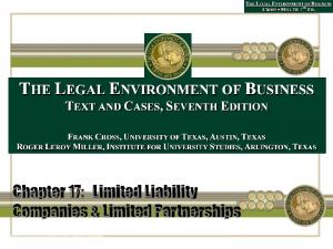 Chapter 17: Limited Liability Companies & Limited Partnerships