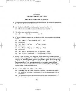 CHAPTER 17 OXIDATION-REDUCTION SOLUTIONS TO REVIEW QUESTIONS