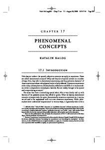 chapter 17 PHENOMENAL CONCEPTS katalin balog 17.1 Introduction