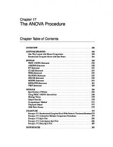 Chapter 17 The ANOVA Procedure. Chapter Table of Contents