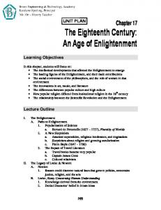 Chapter 17 The Eighteenth Century: An Age of Enlightenment