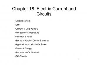Chapter 18: Electric Current and Circuits
