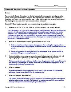 Chapter 18: Regulation of Gene Expression