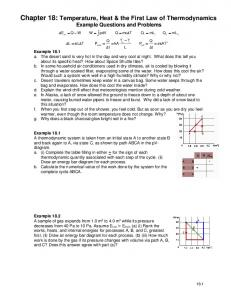 Chapter 18: Temperature, Heat & the First Law of Thermodynamics Example Questions and Problems