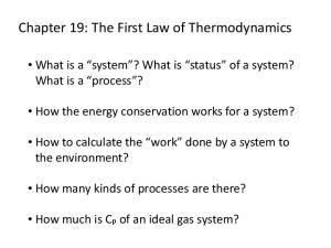 Chapter 19: The First Law of Thermodynamics
