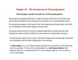 Chapter 19 The Second Law of Thermodynamics