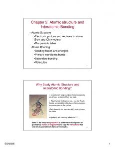 Chapter 2. Atomic structure and Interatomic Bonding