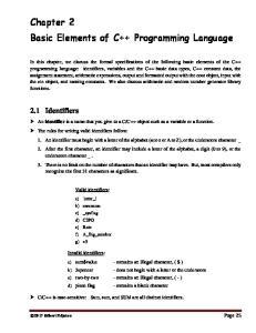 Chapter 2 Basic Elements of C++ Programming Language