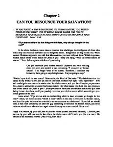 Chapter 2 CAN YOU RENOUNCE YOUR SALVATION?
