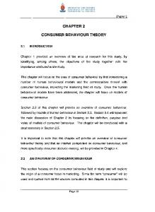 CHAPTER 2 CONSUMER BEHAVIOUR THEORY