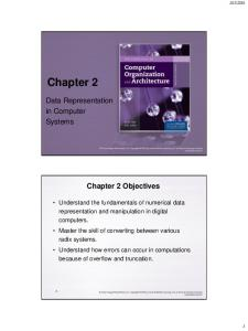 Chapter 2. Data Representation in Computer Systems. Chapter 2 Objectives