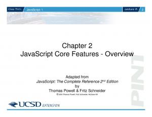 Chapter 2 JavaScript Core Features - Overview