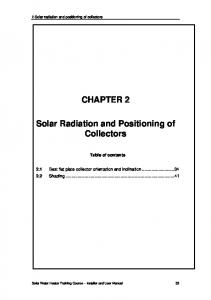 CHAPTER 2. Solar Radiation and Positioning of Collectors