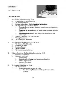 CHAPTER 2 THE CONSTITUTION CHAPTER OUTLINE
