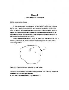 Chapter 2 The Continuum Equations