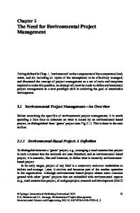 Chapter 2 The Need for Environmental Project Management