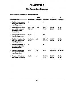 CHAPTER 2. The Recording Process ASSIGNMENT CLASSIFICATION TABLE. Brief. A Problems. B Problems