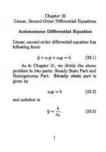 Chapter 23 Linear, Second-Order Differential Equations. Autonomous Differential Equation