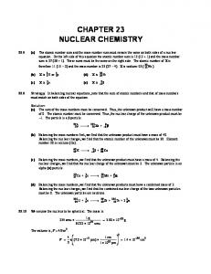 CHAPTER 23 NUCLEAR CHEMISTRY