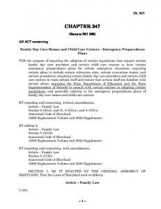 CHAPTER 247. (Senate Bill 356) Family Day Care Homes and Child Care Centers Emergency Preparedness Plans