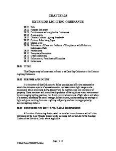 CHAPTER 28 EXTERIOR LIGHTING ORDINANCE