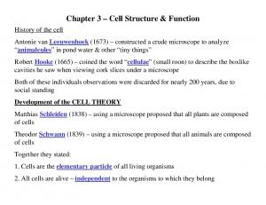 Chapter 3 Cell Structure & Function