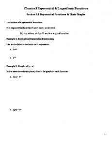 Chapter 3 Exponential & Logarithmic Functions