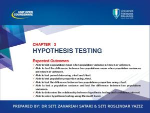 CHAPTER 3 HYPOTHESIS TESTING