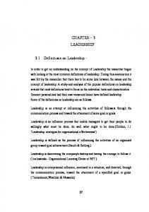 CHAPTER 3 LEADERSHIP. 3.1 Definitions on Leadership -